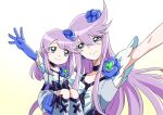 2girls armpits bangs blue_eyes blue_gloves carrying choker closed_mouth collarbone cure_moonlight elbow_gloves eyebrows_visible_through_hair floating_hair gloves hair_between_eyes heartcatch_precure! kneehighs long_hair looking_at_viewer multiple_girls precure purple_hair shiny shiny_hair simple_background smile swept_bangs tsukikage_oyama very_long_hair white_background