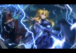 1girl ahoge arknights black_dress black_gloves blonde_hair breasts chinese_commentary coat cowboy_shot dress electricity eyebrows_visible_through_hair gloves hair_between_eyes highres holding holding_staff horns kagura_tohru lanyard leizi_(arknights) letterboxed long_hair looking_at_viewer medium_breasts name_tag off_shoulder open_clothes open_coat open_mouth pointy_ears qilin_(mythology) solo staff twintails violet_eyes white_coat