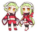 1boy 1girl 7th_dragon_(series) 7th_dragon_2020 ahoge bangs bare_shoulders black_shirt black_sleeves blush bow brown_eyes chibi closed_mouth commentary_request detached_sleeves green_hair hair_bow hairband hand_on_hip hands_together highres long_hair long_sleeves low_twintails midriff miina_(7th_dragon_2020) miroku_(7th_dragon_2020) naga_u navel navigator_(7th_dragon) own_hands_together parted_lips red_bow red_footwear red_shorts red_sleeves shirt short_shorts shorts shrug_(clothing) simple_background sleeveless sleeveless_shirt smile standing twintails v-shaped_eyebrows very_long_hair white_background white_hairband wide_sleeves yellow_eyes