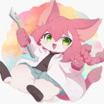 1girl :3 :d adjustable_wrench animal_ears animal_nose blue_skirt blush braid cat cat_busters cat_ears cat_girl cat_tail commentary_request ennuiours furry green_eyes holding_wrench labcoat long_hair looking_to_the_side neko_hakase_(cat_busters) open_mouth pawpads pink_hair pleated_skirt simple_background skirt smile solo tail twin_braids whiskers white_fur wrench
