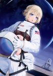 1girl american_flag astronaut astronaut_helmet black_bodysuit blonde_hair blue_eyes bodysuit deca_purio gloves helmet highres holding holding_helmet nasa nasa_logo navel original short_hair solo space space_craft spacesuit white_gloves