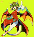1girl ;d breasts china_dress chinese_clothes commentary_request draco_centauros dragon_girl dragon_horns dragon_tail dragon_wings dress elbow_gloves fang footwear_request full_body gloves green_background green_hair highres horns looking_at_viewer medium_breasts medium_hair mizuki_tsukimori one_eye_closed open_mouth pants partial_commentary pointing pointing_at_viewer pointy_ears puyopuyo red_dress red_wings simple_background skin_fang smile solo tail v-shaped_eyebrows white_gloves white_pants wings yellow_eyes