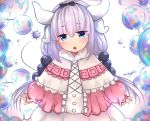 1girl absurdres black_bow blue_eyes blush bow dress hair_bow hairband head_tilt highres horns jitome kanna_kamui kobayashi-san_chi_no_maidragon long_hair looking_at_viewer low_twintails multicolored multicolored_eyes neonbeat parted_lips pink_dress purple_hair skirt solo standing tail twintails upper_teeth violet_eyes white_skirt