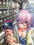 >:) 1girl blush bra bra_peek breasts card collarbone downblouse dress eyebrows_visible_through_hair fate/grand_order fate_(series) glasses grin highres holding holding_card hood hoodie indoors looking_at_viewer magical_explosion mash_kyrielight mash_kyrielight_(senpai_killer_outfit) medium_breasts medium_hair nigorimizu open_mouth plaid plaid_dress purple_hair revision shop smile solo_focus underwear upper_body violet_eyes white_bra yellow_hoodie yuu-gi-ou