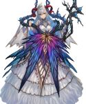 1girl bangs bare_shoulders blue_flower blue_hair blue_rose breasts closed_mouth covered_collarbone dress fire_emblem fire_emblem_heroes flower freyja_(fire_emblem_heroes) full_body hair_ornament highres holding horns layered_dress layered_skirt long_hair long_sleeves looking_at_viewer medium_breasts multicolored_hair official_art red_eyes rose silver_hair skirt smile solo staff standing thorns transparent_background turtleneck yoshiku_(oden-usagi)
