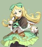 1girl atelier_(series) atelier_shallie black_bloomers black_capelet blonde_hair bloomers bow capelet closed_mouth cowboy_shot cravat curcumin expressionless flipped_hair frilled_skirt frills gloves green_background green_bow green_eyes green_neckwear green_skirt hair_bow jitome long_hair looking_at_viewer miruca_crotze outstretched_hand simple_background skirt solo underwear white_gloves