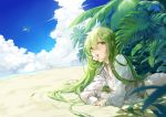 1boy androgynous bangs beach blue_sky blurry clouds condensation_trail dappled_sunlight depth_of_field enkidu_(fate/strange_fake) eyelashes fate_(series) flower flying green_eyes green_hair hair_between_eyes long_hair long_sleeves looking_at_viewer lying midriff mouth_hold ocean on_ground on_stomach plant robe saki_(nighters) sand sky solo sunlight very_long_hair white_flower