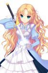 1girl bell_(soccer_spirits) blonde_hair blue_dress blue_eyes dress floral_print flower gloves hair_ribbon highres holding holding_weapon long_hair looking_at_viewer official_art ribbon rose rose_print shirahane_nao soccer_spirits sword weapon white_flower white_gloves white_ribbon white_rose