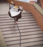 1girl black_dress commentary day dress long_hair long_sleeves low_twintails maid maid_headdress original outdoors pinafore_dress railing red_footwear shoes skateboard sneakers solo stairs suzushiro_(suzushiro333) twintails