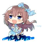 1girl :d bangs bare_shoulders black_legwear blue_bow blue_eyes blue_footwear blue_headwear blue_legwear blue_skirt blush boots bow brown_hair chibi eyebrows_visible_through_hair full_body gloves hair_between_eyes hair_bow hair_ornament hairclip hat highres hololive kneehighs koga_rejini long_hair looking_away mini_hat mismatched_footwear mismatched_legwear navel open_mouth pleated_skirt shirt single_glove skirt sleeveless sleeveless_shirt smile solo standing star_(symbol) striped striped_headwear sweat tilted_headwear tokino_sora vertical-striped_headwear vertical_stripes very_long_hair virtual_youtuber white_background white_bow white_footwear white_gloves white_shirt wrist_cuffs