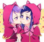 2girls animal_ears animal_hood bangs blue_eyes blue_hair blush bow cape capelet cat_ears cat_hood cheek_licking closed_mouth dokidoki!_precure embarrassed eye_contact face_licking fake_animal_ears hand_on_another's_shoulder hishikawa_rikka hood hooded_capelet kenzaki_makoto licking long_hair long_sleeves looking_at_another multiple_girls negom pink_neckwear plaid plaid_bow precure purple_hair red_cape shiny shiny_hair short_hair sweatdrop swept_bangs upper_body violet_eyes younger
