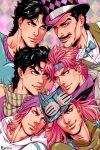 6+boys artist_name battle_tendency black_hair blue_eyes caesar_anthonio_zeppeli cowboy_hat facial_hair facial_mark feathers goggles goggles_on_headwear gyro_zeppeli hair_feathers hat headband highres hood hood_down johnny_joestar jojo_no_kimyou_na_bouken jonathan_joestar joseph_joestar_(young) long_hair marion-ville multiple_boys mustache phantom_blood pink_hair scarf smile star_(symbol) star_print steel_ball_run striped striped_scarf will_anthonio_zeppeli