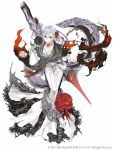 1girl asymmetrical_bangs bangs blood bloody_clothes bow_(weapon) crossbow dress elbow_gloves eyebrows_visible_through_hair flower full_body gloves grey_eyes grey_hair hair_flower hair_ornament highres huge_weapon ji_no looking_at_viewer nightmare_(sinoalice) official_art rose sinoalice snow_white_(sinoalice) solo square_enix weapon white_background white_dress white_gloves