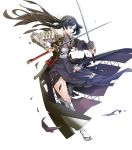 1girl arm_guards armor bangs black_eyes black_hair broken_armor dual_wielding fire_emblem fire_emblem_awakening fire_emblem_heroes full_body headband highres holding holding_sword holding_weapon japanese_clothes katana leg_up long_hair long_sleeves obi official_art open_mouth sash say'ri_(fire_emblem) shiny shiny_hair shoulder_armor solo sword torn_clothes transparent_background weapon yura_(ub4u)