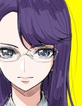 1girl asymmetrical_bangs bangs blue_eyes closed_mouth glasses heartcatch_precure! long_hair looking_at_viewer portrait precure purple_hair shiny shiny_hair simple_background solo swept_bangs tsukikage_oyama tsukikage_yuri white-framed_eyewear yellow_background