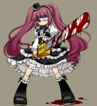 1girl blood bloomers blush chainsaw dress eyepatch frills fujiwhite182 gothic_lolita hanazono_yurine hat highres huge_filesize jashin-chan_dropkick lolita_fashion long_hair looking_at_viewer medical_eyepatch mini_hat purple_hair ribbon solo twintails underwear violet_eyes