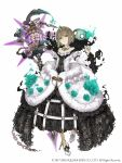 1girl aqua_eyes bare_shoulders birdcage black_dress brown_hair cage chain detached_collar dress earrings eyebrows_visible_through_hair flat_chest flower frills full_body fur_trim gretel_(sinoalice) hansel_(sinoalice) high_heels highres holding holding_staff jewelry ji_no looking_at_viewer nail_polish nightmare_(sinoalice) official_art sinoalice solo square_enix staff tiara white_background wide_sleeves