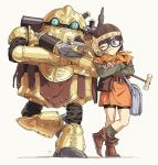 1girl bag belt bike_shorts blue_eyes boots chrono_trigger full_body glasses hammer helmet hosodayo looking_at_viewer lucca_ashtear one_eye_closed purple_hair robo robot satchel short_hair simple_background smile solo standing standing_on_one_leg tunic white_background