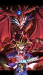 belt collar dragon dragon_wings duel_disk duel_monster extra_mouth fangs glowing_mouth hawe_king highres millennium_puzzle multicolored_hair mutou_yuugi osiris_the_sky_dragon spiky_hair violet_eyes wings yuu-gi-ou