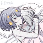 2girls artist_name bandages bed_sheet blue_hair blush closed_eyes closed_mouth cover hair_ornament hug konno_junko long_hair lying mizuno_ai multiple_girls on_back on_side open_mouth pillow red_eyes scar short_hair smile studiozombie yuri zombie zombie_land_saga