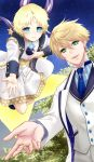 2boys arthur_pendragon_(fate) bangs blonde_hair blue_eyes blue_neckwear blush bright_pupils chona closed_mouth eyebrows_visible_through_hair fate/grand_order fate/prototype fate/requiem fate_(series) floating formal full_body glowing green_eyes hair_between_eyes highres long_sleeves looking_at_viewer male_focus multiple_boys necktie open_hands open_mouth parted_bangs scarf sky smile star_(sky) star_(symbol) starry_sky suit upper_body voyager_(fate/requiem) white_suit