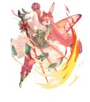 1girl bangs detached_sleeves dress fairy_wings fire_emblem fire_emblem_heroes full_body gradient gradient_hair highres long_hair long_sleeves mirabilis_(fire_emblem) multicolored_hair official_art pantyhose pink_hair pointy_ears sleeves_past_wrists solo transparent_background wings yoshiku_(oden-usagi)