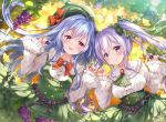 2girls ahoge aoba_chise aoba_project aoba_rena bangs black_bow blurry blush bokeh bow bowtie brooch buttons center_frills collar commentary_request depth_of_field double-breasted dress eyebrows_visible_through_hair food frilled_collar frilled_sleeves frills fruit ginkgo_leaf grapes green_bow green_dress green_headwear green_neckwear hair_between_eyes hair_bow hat hat_bow holding holding_food holding_fruit jewelry long_hair long_sleeves looking_at_viewer multiple_girls nail_polish open_mouth pink_eyes pink_nails pinky_swear purple_hair red_bow sakura_moyon silver_hair smile twintails violet_eyes