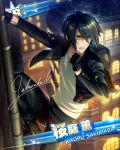 agent black_eyes black_hair character_name city gloves idolmaster idolmaster_side-m jacket sakuraba_kaoru short_hair