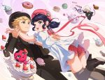 1boy 1girl adrien_agreste animal_ears black_footwear black_hair black_headwear black_jacket black_legwear black_pants black_sweater_vest blonde_hair blue_eyes blush bow bug cake cat commentary cupcake doughnut dress food fruit gem insect jacket kimopoleis ladybug looking_at_another marinette_dupain-cheng miraculous_ladybug open_mouth pants pink_bow pink_headwear pink_shorts puffy_short_sleeves puffy_sleeves shoes short_hair short_shorts short_sleeves shorts smile strawberry sweater_vest thigh-highs twintails upper_teeth watermark web_address white_dress wolf_ears