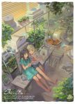 2girls alphonse_(white_datura) bangs barefoot black_hair blinds blonde_hair blue_dress book brown_eyes dress english_text eyebrows_visible_through_hair highres indoors long_hair multiple_girls open_book original plant potted_plant shelf shell signature sitting wavy_hair
