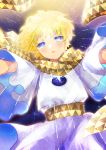 1boy baggy_clothes bangs blonde_hair blue_eyes blush bright_pupils eyebrows_visible_through_hair falling fate/grand_order fate/requiem fate_(series) glowing highres ittokyu light light_particles looking_at_viewer male_focus open_mouth parted_bangs scarf shiny shiny_hair short_sleeves sky smile solo space star_(sky) star_(symbol) starry_background starry_sky upper_body voyager_(fate/requiem) yellow_scarf