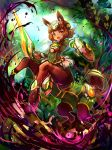 1girl :o animal_ear_fluff animal_ears anklet armor bangs bodysuit breasts brown_eyes brown_hair centaur commentary_request covered_navel energy forest full_body green_armor green_bodysuit green_headwear haya_(amagasane) highres holding holding_shield holding_sword holding_weapon hooves horse_ears horse_tail jewelry looking_at_viewer monster_girl multiple_legs nature open_mouth original pelvic_curtain plant shield short_hair sidelocks small_breasts solo standing sword tail thick_eyebrows tied_hair tree weapon