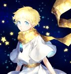 1boy absurdres baggy_clothes bangs blonde_hair blue_eyes bright_pupils eyebrows_visible_through_hair fate/grand_order fate/requiem fate_(series) glowing gradient_hair highres kora_(sinntaro) looking_at_viewer male_focus multicolored_hair open_mouth parted_bangs scarf short_sleeves sky smile solo space star_(sky) star_(symbol) starry_background starry_sky upper_body voyager_(fate/requiem) yellow_scarf