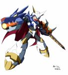1boy android arm_cannon armor cape claws commentary commission crossover digimon digimon_adventure fusion helmet highres horns innovator123 male_focus omegamon open_mouth robot rockman rockman_x simple_background spikes sword weapon x_(rockman)
