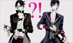 !? 2boys akashi_kuniyuki akashi_kuniyuki_(cosplay) black-framed_eyewear black_gloves black_hair cosplay costume_switch frown fushimi_saruhiko fushimi_saruhiko_(cosplay) glasses gloves hair_ornament hair_over_one_eye hairclip hand_on_hilt holding holding_sword holding_weapon jacket k_(anime) looking_at_another male_focus multiple_boys mzet open_clothes open_jacket pale_skin purple_hair scar sheath shirt short_hair sweatdrop sword tachi_(weapon) touken_ranbu unsheathing untucked_shirt weapon yellow_eyes