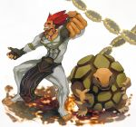 1boy abs black_gloves bodysuit brown_eyes clenched_hand commentary_request covered_navel dakim_(pokemon) feet fingerless_gloves gen_1_pokemon gloves golem_(pokemon) grey_bodysuit jewelry legs_apart loincloth muscle necklace outstretched_arm pokemon pokemon_(creature) pokemon_(game) pokemon_colosseum redhead sor_(eliminate) spiky_hair standing teeth toenails toes white_background