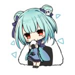 1girl animal bangs bare_shoulders blue_dress blue_hair blue_sleeves blush_stickers bow bug butterfly chibi detached_sleeves double_bun dress eyebrows_behind_hair food food_on_face frilled_dress frills full_body hair_bow hair_ornament highres holding holding_food hololive insect koga_rejini long_sleeves onigiri oversized_food oversized_object purple_bow red_eyes rice rice_on_face simple_background skull_hair_ornament sleeveless sleeveless_dress solo standing uruha_rushia virtual_youtuber white_background wide_sleeves