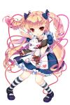 1girl alice_(soccer_spirits) black_footwear blonde_hair blue_bow blue_dress blue_ribbon bow dress drill_hair frilled_skirt frills full_body hair_bow hair_ribbon highres holding holding_stuffed_animal long_hair looking_at_viewer official_art red_eyes ribbon shirahane_nao shoes skirt soccer_spirits socks solo standing striped striped_legwear stuffed_animal stuffed_bunny stuffed_toy transparent_background twin_drills
