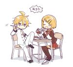 1girl 2boys armband bangs black_skirt blonde_hair blue_eyes chair closed_eyes collar commentary desk executive_student_council_(module) feet_on_chair full_body hair_ornament hairclip holding holding_paper jacket kagamine_len kagamine_rin leg_up light_blush miniskirt multiple_boys open_mouth origami pants paper paper_airplane paper_crane pleated_skirt pouty_lips project_diva_(series) red_collar red_skirt school_uniform serafuku short_hair sitting skirt smile spiky_hair suzumi_(fallxalice) swept_bangs thigh-highs trad_school_(module) translation_request uniform vocaloid white_background white_jacket white_pants white_uniform