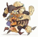 1girl bag bike_shorts blue_eyes boots chrono_trigger full_body glasses hammer helmet highres hosodayo lucca_ashtear open_mouth purple_hair robo robot running satchel shirt smile tunic
