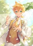 1boy absurdres blonde_hair blurry blurry_background blush bokeh boutonniere bow company_name cravat curtains day depth_of_field dutch_angle floral_arch flower green_eyes groom hair_bow hatsune_miku_graphy_collection highres holding holding_ring jacket jewelry jewelry_removed kagamine_len long_sleeves looking_at_viewer low_ponytail male_focus necktie official_art open_clothes open_jacket outstretched_hand pants petals ponytail reaching_out ribbon ring shinotarou_(nagunaguex) shirt smile solo sparkle tuxedo upper_body vest vocaloid watermark web_address wedding_ring white_bow white_flower white_jacket white_pants white_shirt wind wing_collar yellow_neckwear yellow_ribbon yellow_vest