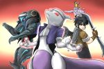 2boys 3others black_hair cosplay dark_pit dark_samus ditto fatal_fury_cap fingerless_gloves gen_1_pokemon gloves headband highres kicdon kid_icarus kid_icarus_uprising kusanagi_kyou kusanagi_kyou_(cosplay) legendary_pokemon looking_back metroid mewtwo multiple_boys multiple_others pikachu pokemon red_background red_eyes super_smash_bros. sylvie_paula_paula sylvie_paula_paula_(cosplay) terry_bogard the_king_of_fighters trait_connection wings