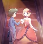 1boy 1girl ballroom bare_shoulders black_hair blonde_hair blue_eyes blue_suit brown_eyes choker couple dress gloves holding_hands mei_(maysroom) no_hat no_headwear pokemon pokemon_(anime) pokemon_xy_(anime) red_choker red_dress red_ribbon red_sash ribbon sash satoshi_(pokemon) serena_(pokemon) short_hair spiky_hair stairs tagme tareme