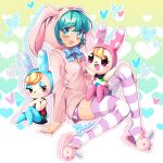 3girls :d animal_ears animal_hood aqua_eyes aqua_hair bangs black_dress blonde_hair blush bunny_hood christine_(doubutsu_no_mori) commentary_request doubutsu_no_mori dress eyebrows_visible_through_hair eyeshadow fake_animal_ears francoise_(doubutsu_no_mori) hatsune_miku heart highres hood hoodie inioli long_hair long_sleeves makeup multiple_girls open_mouth pink_eyes pink_hoodie pink_shorts polka_dot polka_dot_dress polka_dot_shorts rabbit_ears short_hair short_shorts shorts smile striped striped_legwear tail vocaloid white_dress