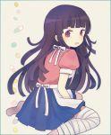 1girl apron ayu_(mog) bandages blush crying danganronpa long_hair nurse open_mouth purple_hair skirt solo super_danganronpa_2 tears tsumiki_mikan violet_eyes