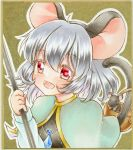 1girl amulet animal_ears arm_up basket black_shirt blue_capelet blush capelet commentary_request eyebrows_visible_through_hair graphite_(medium) hair_between_eyes highres holding_rod looking_at_viewer marker_(medium) medium_hair mouse mouse_ears mouse_girl mouse_tail nazrin nekofish666 open_mouth red_eyes shiny shiny_hair shirt silver_hair solo tail touhou traditional_media