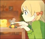 2girls =_= animal_ears ayu_(mog) blonde_hair blue_eyes blurry blurry_background bow cheek_poking cheese closed_mouth depth_of_field fingernails food green_sweater hair_bow indoors minigirl mouse_ears mouse_girl multiple_girls original poking polka_dot polka_dot_bow profile red_bow sitting size_difference sweater upper_body