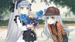 1other 2girls brown_eyes character_request chinese_commentary commentary_request deerstalker g11_(girls_frontline) girls_frontline green_eyes hat highres hk416_(girls_frontline) jizhi_shaojiu mini_hat multiple_girls pokemon pokemon_(creature) silver_hair suspenders younger