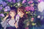 2girls bangs black_kimono blue_flower blunt_bangs blurry blurry_foreground blush brown_hair covering_mouth depth_of_field earrings eyebrows_visible_through_hair fan flower flower_earrings hair_ornament hairclip hand_up holding holding_fan hydrangea japanese_clothes jewelry kimono kusaka_kou leaf leaf_print long_hair looking_at_viewer multiple_girls original outdoors paper_fan parted_lips pink_eyes pink_flower plant ponytail print_kimono purple_hair rain uchiwa upper_body violet_eyes water white_kimono x_hair_ornament yukata