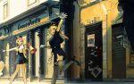 3girls absurdres arm_up asymmetrical_hair bare_legs belt black_footwear black_hair black_legwear blonde_hair blue_eyes blue_neckwear blue_shirt blue_skirt breasts cameo city collared_shirt cuffs day eyelashes fishnet_legwear fishnets gloves hachimiya_meguru handcuffs hat high_heels highres holding holding_megaphone holding_paper idolmaster idolmaster_shiny_colors illumination_stars kazano_hiori kukka long_hair looking_at_another medium_breasts medium_hair megaphone miniskirt multiple_girls necktie open_mouth outdoors outstretched_arm paper pink_eyes pink_hair pointing police police_hat police_uniform poster_(object) road running sakuragi_mano shade shirt short_necktie shouting skirt storefront street sunlight sweatdrop tanaka_mamimi thighs uniform wanted white_gloves white_shirt wing_collar